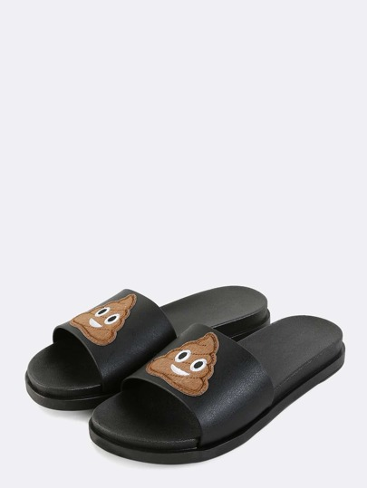 Smiley Poop Emoji Slide Sandals BLACK MULTI