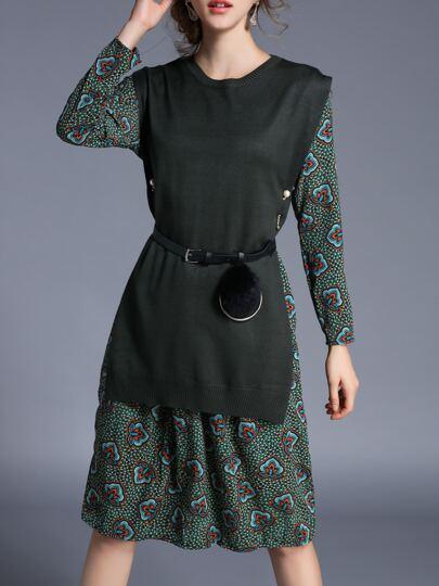 Grüne Knit Belted Drucken Combo Kleid