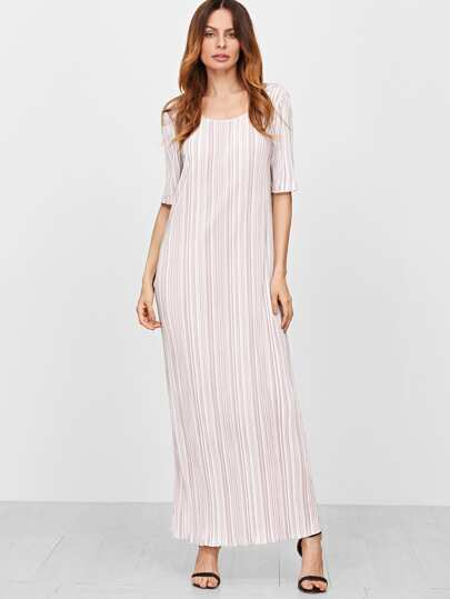 Pink Vertical Striped Double Scoop Neck Half Sleeve Long Dress