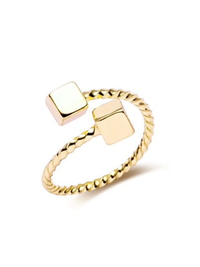 Gold Plated Cube Twist Open Rings