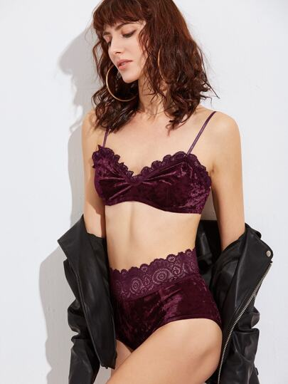 Burgundy Lace Trim Velvet Bralet Set