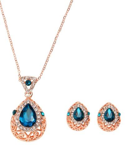 Rose Gold Tone Gem Inlay Hollow Out Necklace Set 2PCS