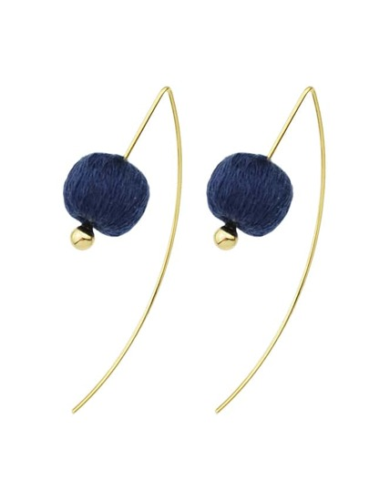 Blue Color Rope Ball Hanging Earrings