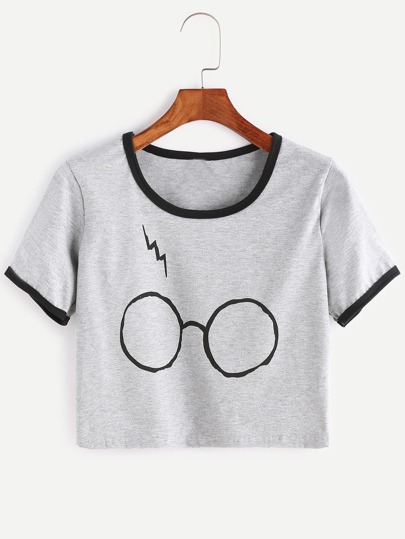 T-shirt contrasté élancé imprimé lunettes -gris bruyère