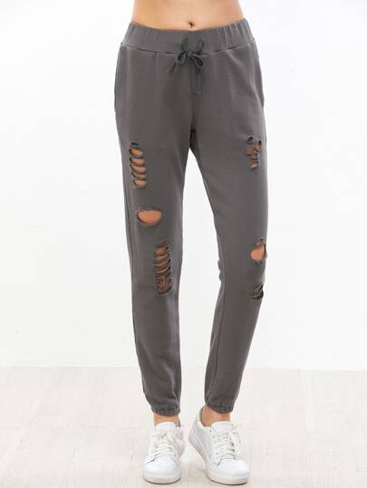 Grey Drawstring Waist Distressed Sweatpants