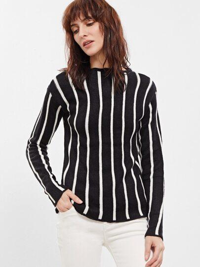 Black Vertical Striped Slim Fit Sweater