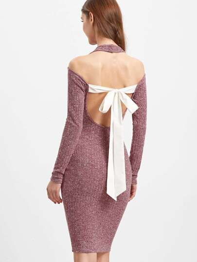 Burgundy Marled Halter Neck Cold Shoulder Bow Tie Open Back Dress