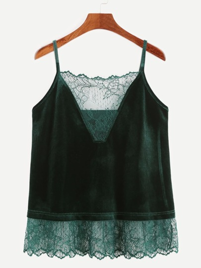 Dark Green Lace Trim Velvet Cami Top