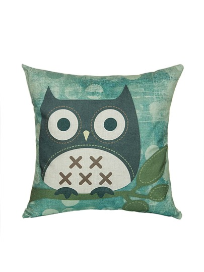 Owl Print Linen Cushion Cover