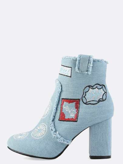 Distressed Embroidered Ankle Boots LIGHT DENIM