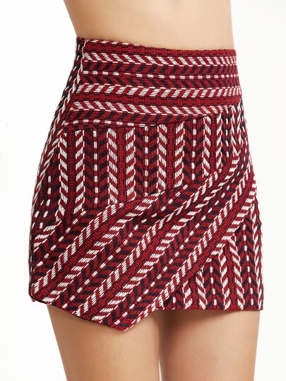 Burgundy Crochet Zipper Back Asymmetric Skirt