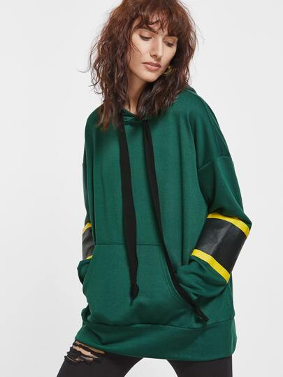Green Drop Shoulder Striped Sleeve Pocket Front Oversized Hoodie