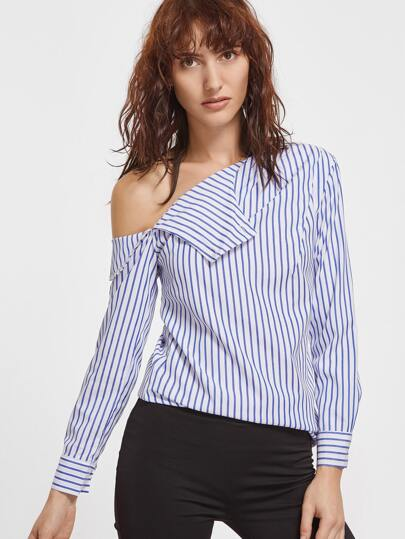 Contrast Striped One Shoulder Blouse