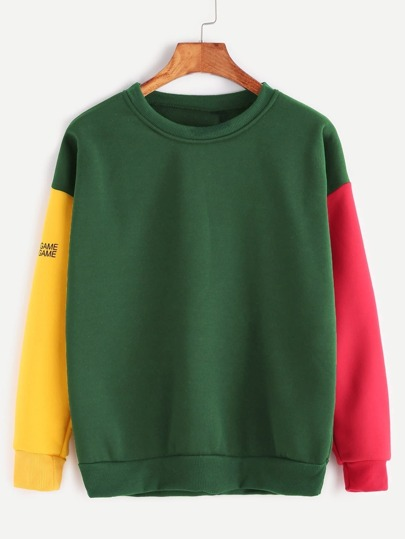 Color Block Drop Shoulder Letter Print Sweatshirt