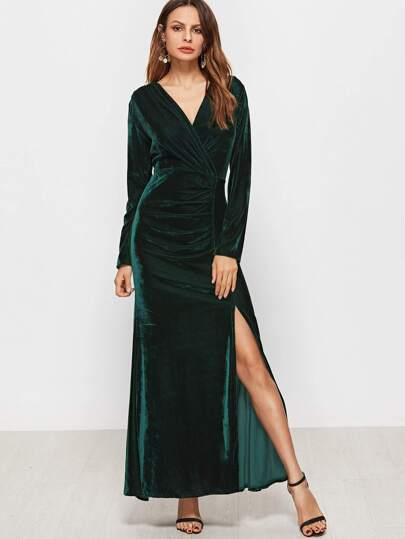 Dark Green V Neck Ruched Slit Hem Velvet Dress