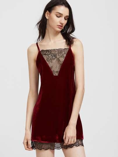 Robe velours contrasté en dentelle élancé à bretelles -bordeaux rouge
