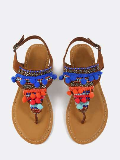 Pom Pom Beaded Thong Sandals CHESTNUT