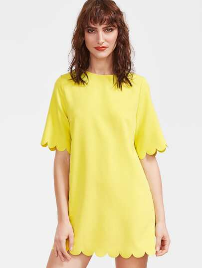 Yellow Scallop Edge Short Sleeve Dress