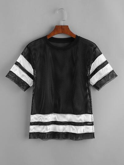Black Contrast Varsity Striped Sheer Fishnet T-shirt