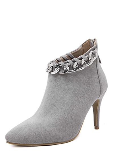 Grey Chain Embellished Stiletto Ankle Boots