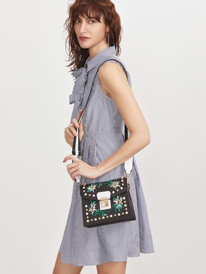 Black Flower Embroidered Studded Wide Strap Box Bag