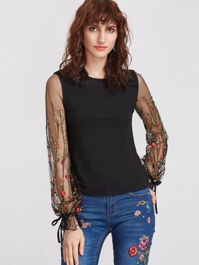 Vine Flower Embroidered Mesh Sleeve T-shirt