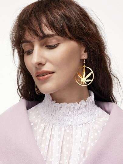 Gold Leaf Hoop Drop Earring