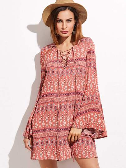Red Tribal Print Criss Cross Front Bell Sleeve Dress