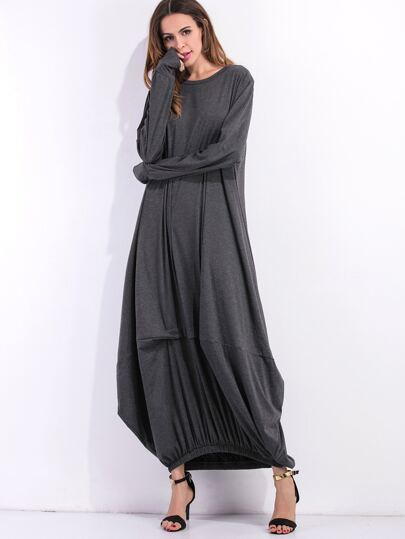 Dark Grey Elastic Hem Shift Dress