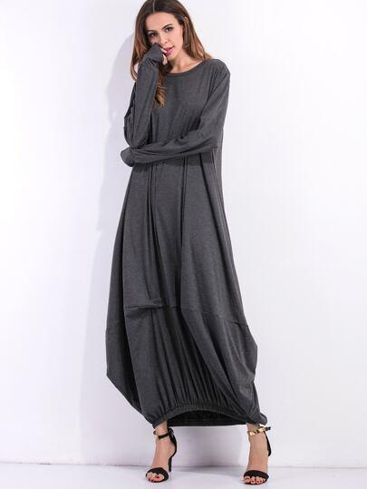 فستان طويل كم طويل ياقة مستديرة - رمادي داكن