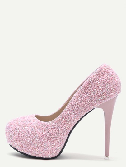 Pink Colored Sequin Inlaid Stiletto Pumps