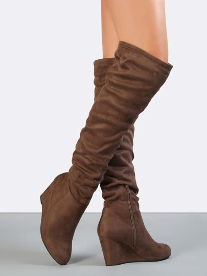Over the Knee Wedge Boots LIGHT BROWN