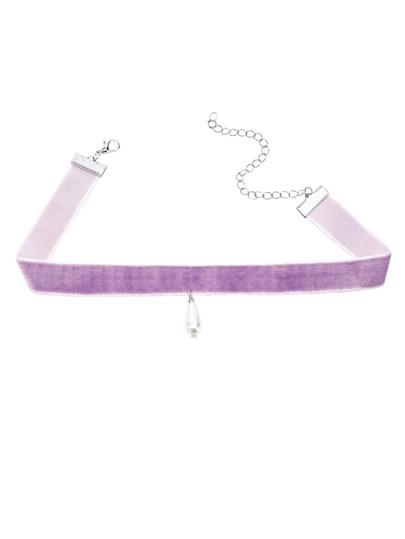 Collana Strozzatore Di Velluto Pendente Di Perline Finte - Violetto