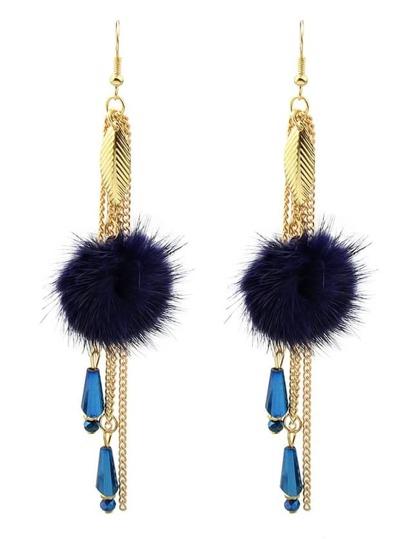 Orecchini Hanging Lungo Con Catena - Blu