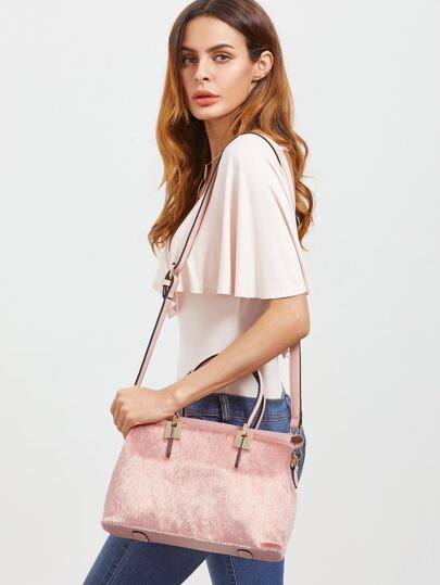 Pink Horse Hair Covered PU Shoulder Bag