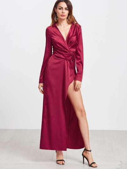 Red Deep V Neck Twist Front Long Sleeve Dress