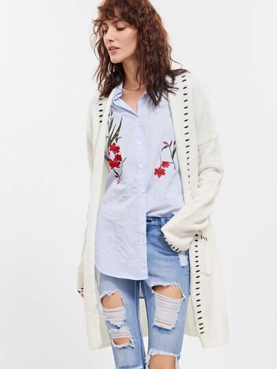 Strickjacke mit Ziernaht Taschen-weiß