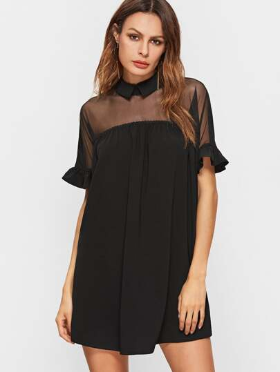 Black Cutout Tie Back Mesh Shoulder Ruffle Cuff Babydoll Dress