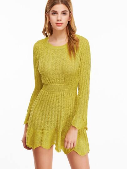 Yellow Eyelet Ruffle Hem Knit Dress