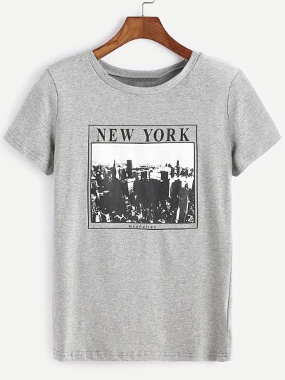 Heather Grey Graphic Print T-shirt