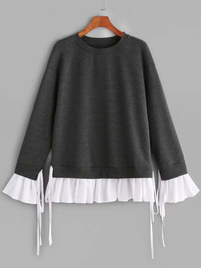 Heather Grey Contrast Pleated Ruffle Trim Sweatshirt