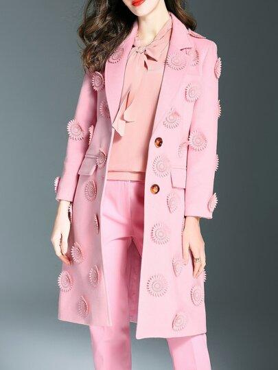 Rosa Revers Blumen Applique Taschen Mantel
