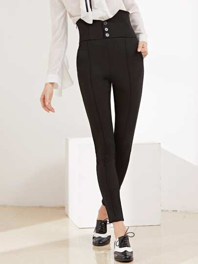 Black V Notch Buttoned High Waist Tailored Pants
