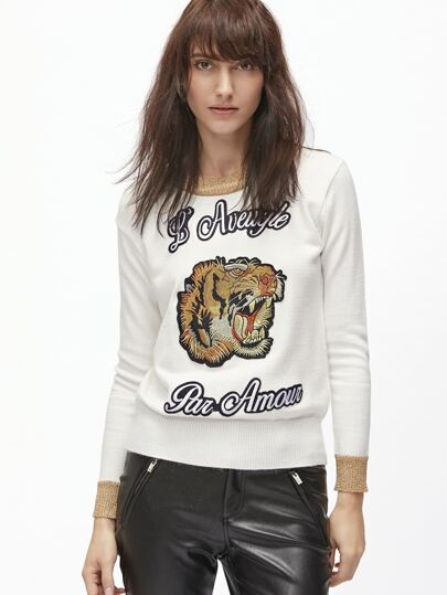 White Tiger Embroidery Contrast Trim Sweater