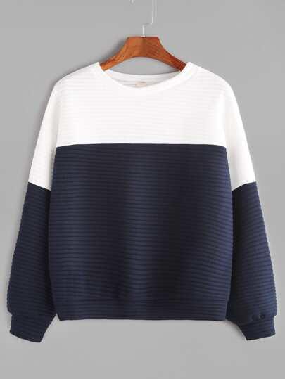 Color Block Drop Shoulder Ribbed Sweatshirt