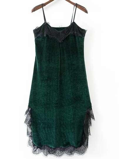 Green Eyelash Detail Velvet Cami Dress
