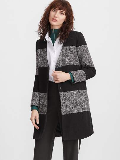 Color Block V Neck Button Up Coat