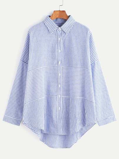Blue Striped Drop Shoulder High Low Shirt