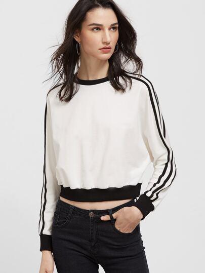 White Contrast Trim Striped Sleeve Sweatshirt