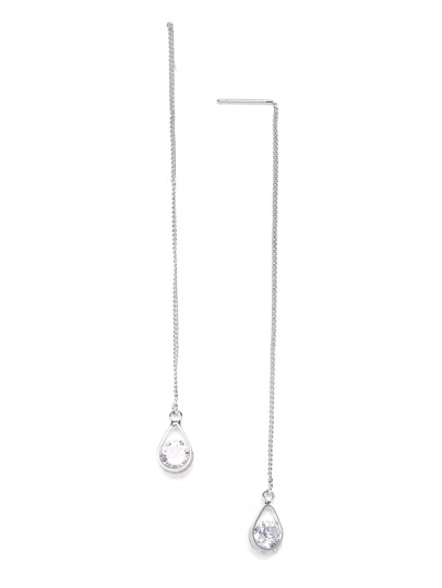 Silver Tone Rhinestone Teardrop Pendant Earrings